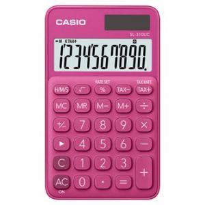 Kalkulačka CASIO, SL 310 UC RD, tmavě růžová, desetimístná, duální napájení