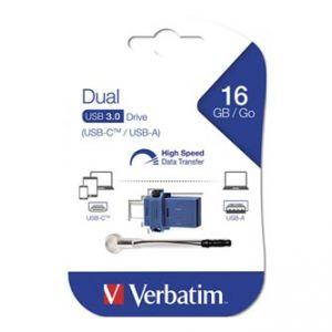 Verbatim USB Flash Drive OTG, 3.0, 16GB, modrý, 49965, šňůrkou přivázaný uzávěr USB 3.0/US