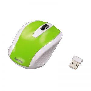 HAMA myš AM-7200/ bezdrátová/ optická/ 800 dpi/ 3 tlačítka/ USB/ bílo-zelená