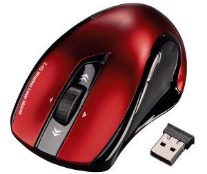 HAMA myš Mirano/ bezdrátová/ laserová/ 1600 dpi/ 6 tlačítek/ tichá/ USB/ červená