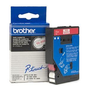 BROTHER laminovaná páska TC-202 / bílá-červená / 12mm