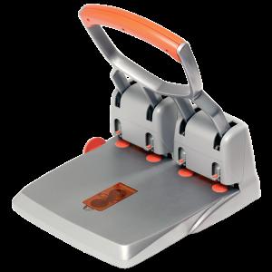 Velkokapacitní čtyřděrovačka Rapid Supreme HDC150/4, 150 listů, stříbrná/oranžová
