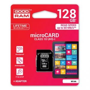 Goodram Micro Secure Digital Card, 128GB, micro SDXC, M1AA-1280R11, UHS-I, s adaptérem