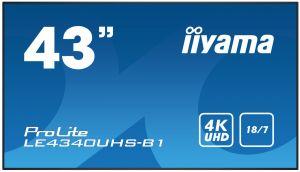 """43"""" iiyama LE4340UHS-B1 - AMVA3,4K UHD,8.5ms,350cd/m2, 5000:1,16:9,VGA,HDMI,DVI,USB,RS232,"""