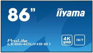 "86"" iiyama LE8640UHS-B1 - IPS,4K UHD,8ms,410cd/m2, 1200:1,16:9,VGA,HDMI,DP,USB,RS232,RJ45,"