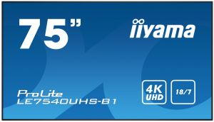 "75"" iiyama LE7540UHS-B1 - IPS,4K UHD,8ms,410cd/m2, 1200:1,16:9,VGA,HDMI,DP,USB,RS232,RJ45,"