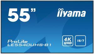 "55"" iiyama LE5540UHS-B1 - AMVA3,4K UHD,8ms,350cd/m2, 4000:1,16:9,VGA,HDMI,DVI,USB,RS232,RJ"