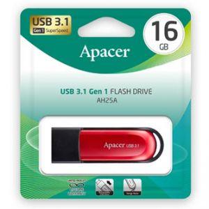 Apacer USB flash disk, 3.1, 16GB, AH25A, červený, červená, AP16GAH25AB-1, s vysuvným konek