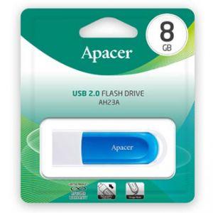 Apacer USB flash disk, 2.0, 8GB, AH23A, modrý, modrá, AP8GAH23AW-1, s vysuvným konektorem