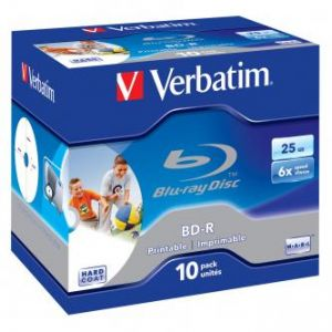 Verbatim BD-R, Single Layer Printable ScratchGuard Plus, 25GB, jewel box, 43713, 6x, 10-pa