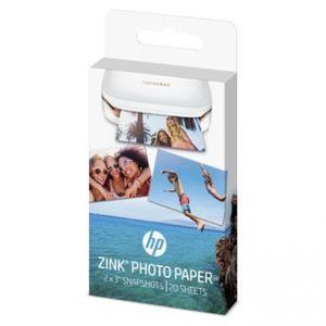 HP ZINC 20ks Sticky-Backed Photo Paper foto papír lesklý ZINK Zero Ink bílý 5,1x7,6cm