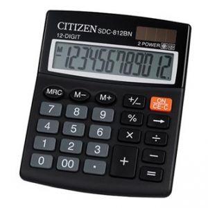 CITIZEN Kalkulačka SDC812BN, černá, stolní, dvanáctimístná, duální napájení