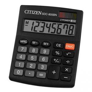 CITIZEN Kalkulačka SDC805BN, černá, stolní, osmimístná, duální napájení