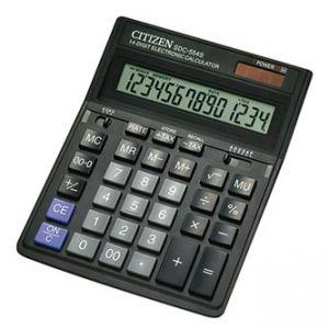 CITIZEN Kalkulačka SDC554S, černá, stolní, čtrnáctimístná, duální napájení