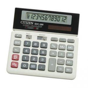 CITIZEN Kalkulačka SDC368, bílo-černá, stolní, dvanáctimístná, duální napájení