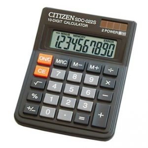 CITIZEN Kalkulačka SDC022SR, černá, stolní, desetimístná, duální napájení