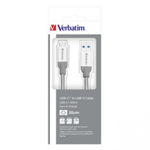 Kabel USB (2.0), USB A M- USB C M, 0.3m, reversible, stříbrný, Verbatim, 48868