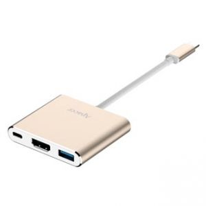 USB (3.1), USB typ C hub 3-port, DH610, zlatý, Apacer 1x USB typ C, 1x USB A (3.1), 1x HDM