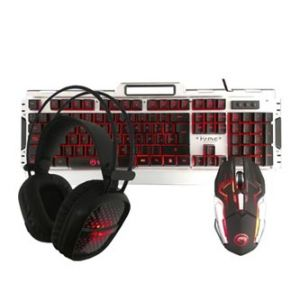 MARVO CM303 Sada klávesnice herní, černo-stříbrná, drátová (USB), US, s herní myší a sluc