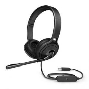 HP, Pavilion 500, sluchátka s mikrofonem, ovládání hlasitosti, černá, USB klasická
