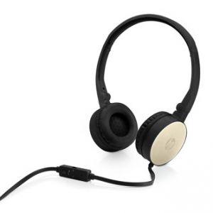 HP, H2800, sluchátka s mikrofonem, ovládání hlasitosti, černo-zlatá, 3.5 mm jack klasická