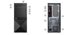 Dell Vostro 3670 MT, i3-8100, 8GB, 2128GB SSD+21TB, UHD 630, DVD RW, WLAN+BT, Kb, Mouse, W