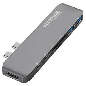 PROMATE USB C MacHub-Pro 7-port šedý, USB 3.1, USB 3.0, Thunderbolt