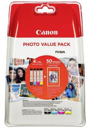 POŠKOZENÝ OBAL - Canon inkoustová náplň CLI-571XL C/M/Y/BK + 50x PP-201 pro Canon Pixma MG