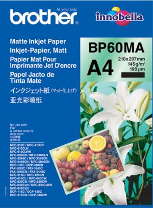 BROTHER Matte Inkjet Paper, foto papír, matný, bílý, A4, 145 g/m2, 25 ks, BP60MA, inkousto