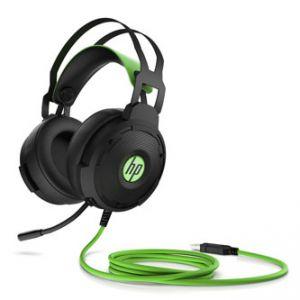 HP Pavilion 600 headset, sluchátka s mikrofonem, ovládání hlasitosti, černo-zelená, 7.1 su