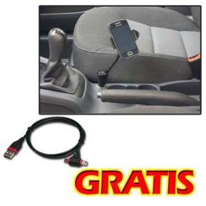 Držák mobilu,PDA,GPS kloubový, do auta, černý, plast, LOGO, s USB adaptérem 1.5A + LOGO ka