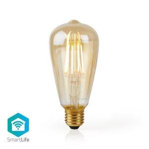 Nedis WIFILF10GDST64 - WiFi Chytrá LED Žárovka s vláknem | E27 | ST64 | 5 W | 500 lm