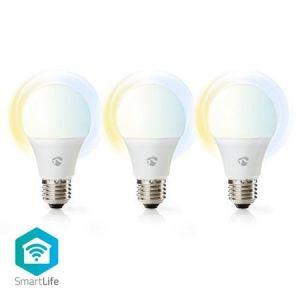Nedis WIFILW30WTE27 -WiFi  Chytré LED Žárovky | Teplá až Studená Bílá | E27 | Balení po 3