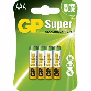 Baterie alkalická, AAA, 1.5V, GP, blistr, 4-pack, SUPER