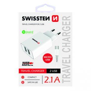 SWISSTEN Síťový adaptér, s microUSB kabelem, 100-240V, 5V, 2100mA, nabíjení mobilních tel