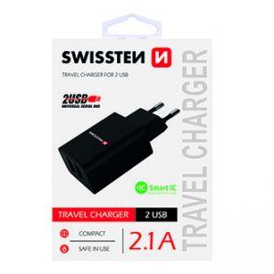 SWISSTEN Síťový adaptér, 100-240V, 5V, 2100mA, nabíjení mobilních telefonů aj., černý