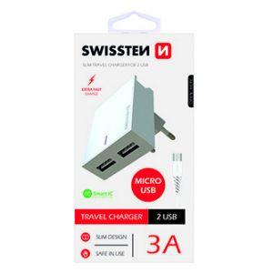 SWISSTEN Síťový adaptér, s microUSB kabelem, 100-240V, 5V, 3000mA, nabíjení mobilních tel