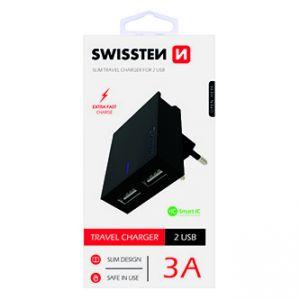 SWISSTEN Síťový adaptér, 100-240V, 5V, 3000mA, nabíjení mobilních telefonů aj., černý