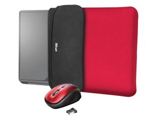 """TRUST myš + obal na notebook Yvo Reversible 15.6"""" Laptop Sleeve and Wireless Mouse - Red"""