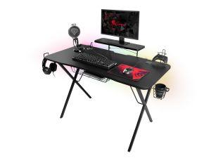 Genesis Holm 300 RGB - herní stůl s RGB podsvícením, 3xUSB 3.0, bezdrátová nabíječka mobil