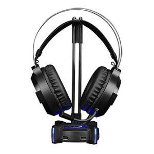 Podsvícený stojan na sluchátka HZ-04, 4x USB 3.0 HUB, černý, Marvo