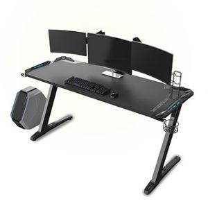 ULTRADESK Herní stůl SPACE XXL BLACK, 154x61x78 cm, RGB podsvícení s dotykovým panelem, s
