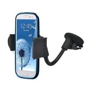 Držák mobilu do auta, nastavitelná šířka, černý, plast, přísavka na sklo, s ramenem, kloub