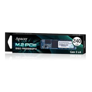 Interní disk SSD Apacer M.2 PCIe, 240GB, AS2280P4, AP240GAS2280P4-1 černý, 1100 MB/s,1800