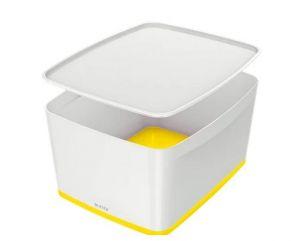 Úložný box s víkem Leitz MyBox, velikost L, bílá/žlutá
