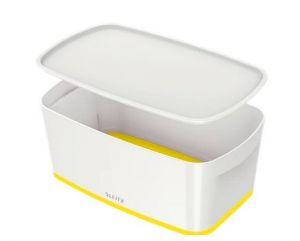 Úložný box s víkem Leitz MyBox, velikost S, bílá/žlutá