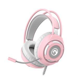 Marvo HG8936, sluchátka s mikrofonem, ovládání hlasitosti, růžová, podsvícená, 3.5 mm jack