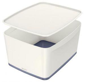 Úložný box s víkem Leitz MyBox, velikost L, bílá/šedá