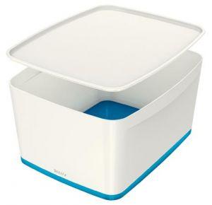 Úložný box s víkem Leitz MyBox, velikost L, bílá/modrá