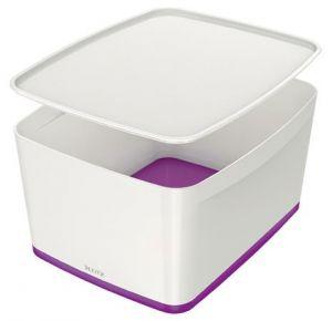 Úložný box s víkem Leitz MyBox, velikost L, bílá/fialová